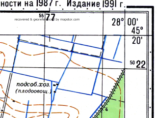 Reduced fragment of topographic map ru--gs--050k--l35-104-2--N045-20_E027-45--N045-10_E028-00; towns and cities Braila, Romanu
