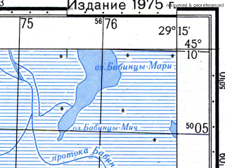 Reduced fragment of topographic map ru--gs--050k--l35-107-3--N045-10_E029-00--N045-00_E029-15; towns and cities Bestepe, Sarinasuf