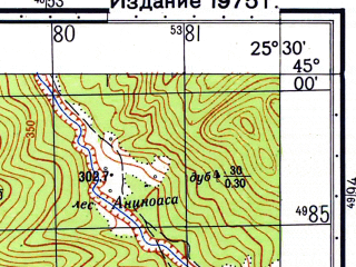 Reduced fragment of topographic map ru--gs--050k--l35-111-2--N045-00_E025-15--N044-50_E025-30; towns and cities Tirgoviste