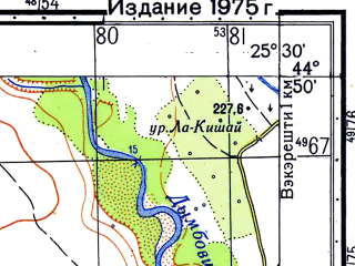 Reduced fragment of topographic map ru--gs--050k--l35-111-4--N044-50_E025-15--N044-40_E025-30; towns and cities Gaesti