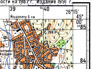 Reduced fragment of topographic map ru--gs--050k--l35-113-1--N045-00_E026-00--N044-50_E026-15; towns and cities Ploiesti