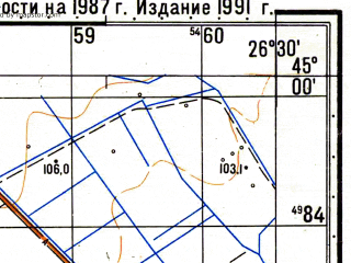Reduced fragment of topographic map ru--gs--050k--l35-113-2--N045-00_E026-15--N044-50_E026-30; towns and cities Draganesti