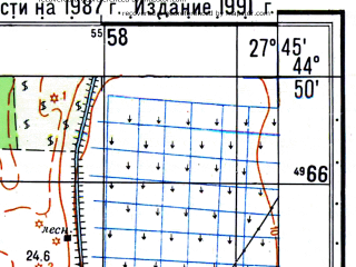 Reduced fragment of topographic map ru--gs--050k--l35-116-3--N044-50_E027-30--N044-40_E027-45; towns and cities Victoria