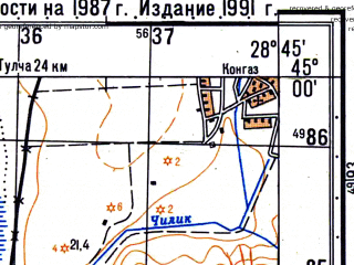 Reduced fragment of topographic map ru--gs--050k--l35-118-1--N045-00_E028-30--N044-50_E028-45; towns and cities Babadag