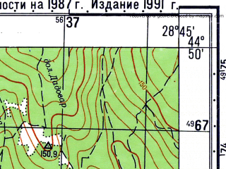 Reduced fragment of topographic map ru--gs--050k--l35-118-3--N044-50_E028-30--N044-40_E028-45