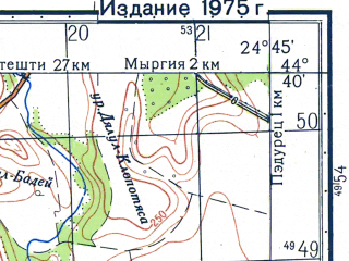 Reduced fragment of topographic map ru--gs--050k--l35-122-1--N044-40_E024-30--N044-30_E024-45; towns and cities Potcoava