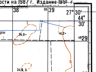 Reduced fragment of topographic map ru--gs--050k--l35-127-4--N044-30_E027-15--N044-20_E027-30; towns and cities Dragalina