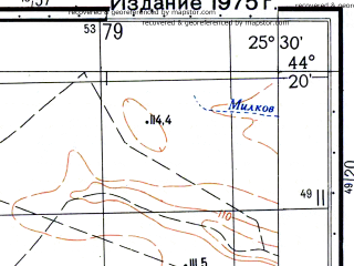 Reduced fragment of topographic map ru--gs--050k--l35-135-2--N044-20_E025-15--N044-10_E025-30; towns and cities Blejesti