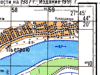 Reduced fragment of topographic map ru--gs--050k--l35-140-1--N044-20_E027-30--N044-10_E027-45; towns and cities Oltina
