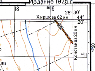 Reduced fragment of topographic map ru--gs--050k--l35-141-2--N044-20_E028-15--N044-10_E028-30; towns and cities Medgidia