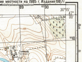 Reduced fragment of topographic map ru--gs--050k--l36-037-1--N047-00_E030-00--N046-50_E030-15; towns and cities Razdel'naya, Ponyatovka