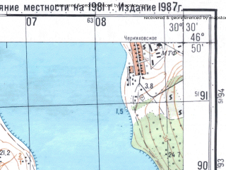 Reduced fragment of topographic map ru--gs--050k--l36-037-4--N046-50_E030-15--N046-40_E030-30; towns and cities Novoukrainka, Vinogradar', Yegorovka