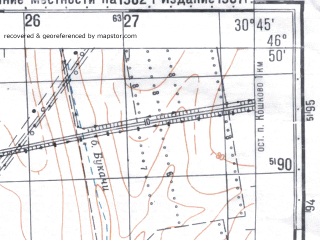 Reduced fragment of topographic map ru--gs--050k--l36-038-3--N046-50_E030-30--N046-40_E030-45; towns and cities Il'inka