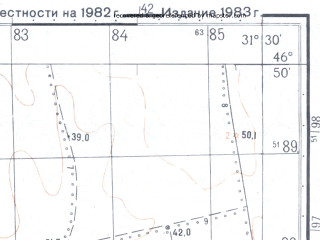 Reduced fragment of topographic map ru--gs--050k--l36-039-4--N046-50_E031-15--N046-40_E031-30; towns and cities Tuzly
