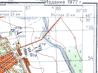 Reduced fragment of topographic map ru--gs--050k--l36-049-3--N046-30_E030-00--N046-20_E030-15; towns and cities Belyayevka, Kazatskoye, Tudorovo, Udobnoye