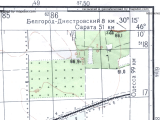 Reduced fragment of topographic map ru--gs--050k--l36-061-3--N046-10_E030-00--N046-00_E030-15; towns and cities Marazliyevka, Velikomar'yanovka