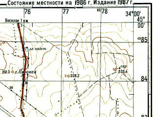 Reduced fragment of topographic map ru--gs--050k--l36-116-2--(1986)--N045-00_E033-45--N044-50_E034-00; towns and cities Pochtovoye, Kol'chugino, Plodovoye