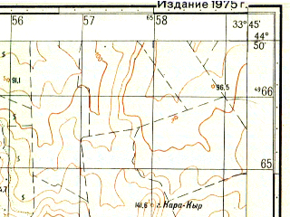 Reduced fragment of topographic map ru--gs--050k--l36-116-3--(1975)--N044-50_E033-30--N044-40_E033-45; towns and cities Kacha, Uglovoye, Verkhnesadovoye