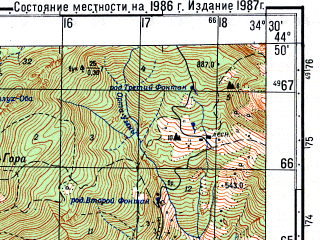Reduced fragment of topographic map ru--gs--050k--l36-117-4--(1986)--N044-50_E034-15--N044-40_E034-30; towns and cities Alushta, Izobil'noye, Luchistoye
