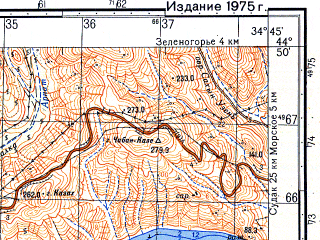Reduced fragment of topographic map ru--gs--050k--l36-118-3--(1975)--N044-50_E034-30--N044-40_E034-45; towns and cities Privetnoye