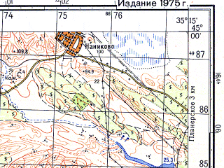 Reduced fragment of topographic map ru--gs--050k--l36-119-1--(1975)--N045-00_E035-00--N044-50_E035-15; towns and cities Planerskoye, Shchebetovka