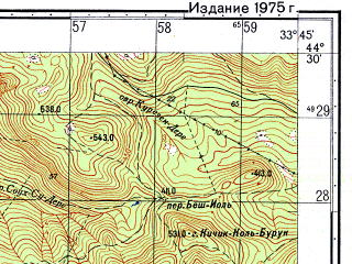 Reduced fragment of topographic map ru--gs--050k--l36-128-3--(1975)--N044-30_E033-30--N044-20_E033-45