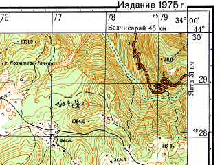 Reduced fragment of topographic map ru--gs--050k--l36-128-4--(1975)--N044-30_E033-45--N044-20_E034-00; towns and cities Foros, Orlinoye