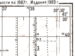 Reduced fragment of topographic map ru--gs--050k--l37-091-4--N045-30_E039-15--N045-20_E039-30; towns and cities Korenovsk, Platnirovskaya