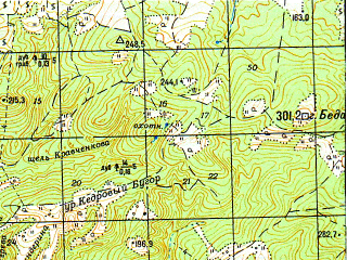 Reduced fragment of topographic map ru--gs--050k--l37-111-4--N044-50_E037-15--N044-40_E037-30