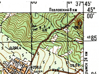 Reduced fragment of topographic map ru--gs--050k--l37-112-1--N045-00_E037-30--N044-50_E037-45; towns and cities Verkhnebakanskiy, Natukhayevskaya
