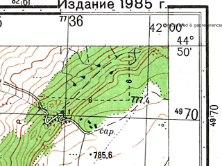Reduced fragment of topographic map ru--gs--050k--l37-120-4--N044-50_E041-45--N044-40_E042-00; towns and cities Barsukovskaya