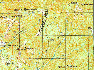 Reduced fragment of topographic map ru--gs--050k--l37-125-4--N044-30_E038-15--N044-20_E038-30; towns and cities Pshada