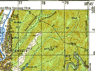 Reduced fragment of topographic map ru--gs--050k--l37-138-1--N044-20_E038-30--N044-10_E038-45; towns and cities Dzhubga