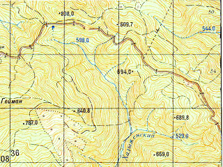 Reduced fragment of topographic map ru--gs--050k--l37-139-2--N044-20_E039-15--N044-10_E039-30