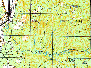 Reduced fragment of topographic map ru--gs--050k--l37-141-1--N044-20_E040-00--N044-10_E040-15; towns and cities Kamennomostskiy, Dakhovskaya