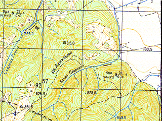 Reduced fragment of topographic map ru--gs--050k--l37-142-4--N044-10_E040-45--N044-00_E041-00; towns and cities Psebay