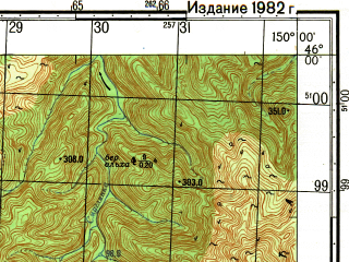 Reduced fragment of topographic map ru--gs--050k--l55-084-2--N046-00_E149-45--N045-50_E150-00; towns and cities Podgornyy