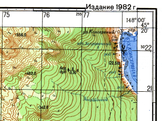Reduced fragment of topographic map ru--gs--050k--l55-104-2--N045-20_E147-45--N045-10_E148-00; towns and cities Kuril'sk, Rybaki, Yanketo