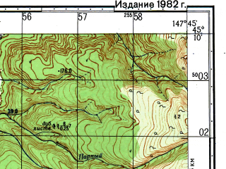 Reduced fragment of topographic map ru--gs--050k--l55-104-3--N045-10_E147-30--N045-00_E147-45; towns and cities Kuybyshevo, Osenniy, Seseki