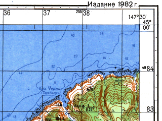 Reduced fragment of topographic map ru--gs--050k--l55-115-2--N045-00_E147-15--N044-50_E147-30