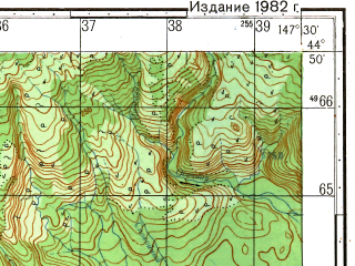 Reduced fragment of topographic map ru--gs--050k--l55-115-4--N044-50_E147-15--N044-40_E147-30; towns and cities Iodnyy, Mysovaya, Odesskiy
