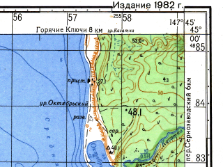 Reduced fragment of topographic map ru--gs--050k--l55-116-1--N045-00_E147-30--N044-50_E147-45; towns and cities Burevestnik, Chikkaporo