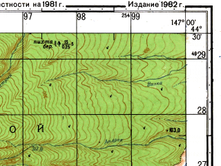 Reduced fragment of topographic map ru--gs--050k--l55-126-4--N044-30_E146-45--N044-20_E147-00
