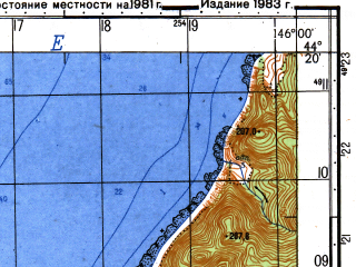 Reduced fragment of topographic map ru--gs--050k--l55-136-2--N044-20_E145-45--N044-10_E146-00; towns and cities Nazarovo