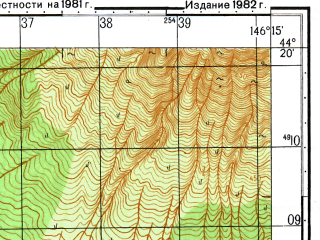 Reduced fragment of topographic map ru--gs--050k--l55-137-1--N044-20_E146-00--N044-10_E146-15; towns and cities Tyatino