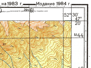 Reduced fragment of topographic map ru--gs--050k--l56-029-2--N047-20_E152-15--N047-10_E152-30