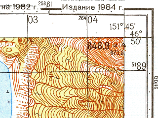 Reduced fragment of topographic map ru--gs--050k--l56-040-3--N046-50_E151-30--N046-40_E151-45