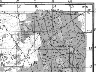 Reduced fragment of topographic map ru--gs--050k--m33-009-1--N052-00_E016-00--N051-50_E016-15; towns and cities Slawa