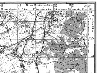 Reduced fragment of topographic map ru--gs--050k--m33-020-1--N051-40_E015-30--N051-30_E015-45; towns and cities Szprotawa