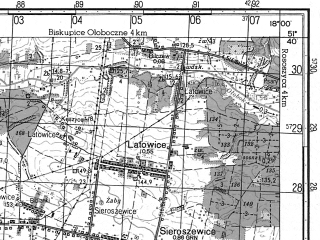 Reduced fragment of topographic map ru--gs--050k--m33-024-2--N051-40_E017-45--N051-30_E018-00; towns and cities Ostrow Wielkopolski